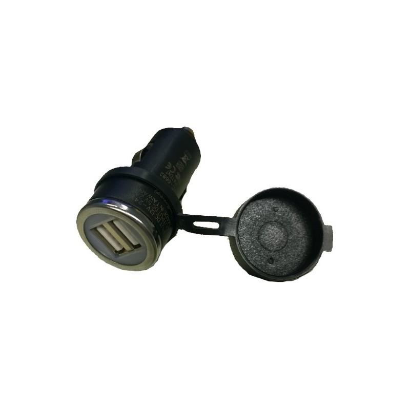 Cargador USB doble para coche con tapa