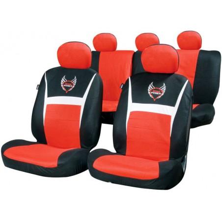 Fundas universales de asiento RACESPORT Wing Power Negro Rojo